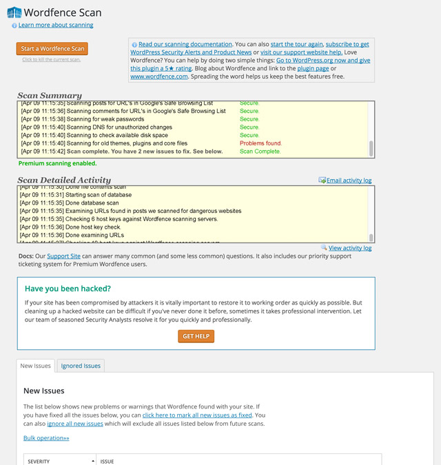 Wordfence screenshot