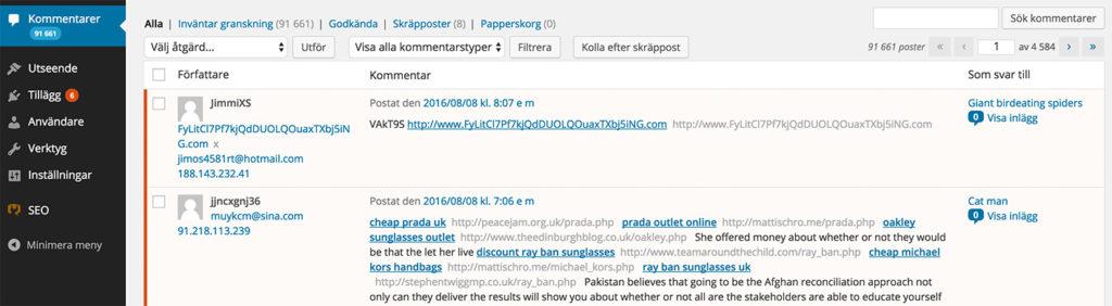 Massor med spam-kommentarer i WordPress